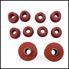 Rugged Ridge Leaf Spring Bushing Kit Red Front For 1976-86 Jeep CJ Series 18364.02