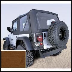 Rugged Ridge (Dark Tan) Replacement Soft Top Skin With Clear Windows For 1997-02 Jeep Wrangler TJ (Upper Door Skins Included) 13703.33