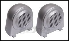 Rugged Ridge Tweeter Cover Accents (Pair) In Brushed Silver For 2007-10 Jeep Wrangler & Wrangler Unlimited JK 11151.11