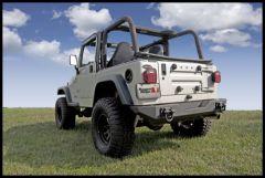 Rugged Ridge Xtreme Heavy Duty Rear Bumper in Textured Black For 1976-06 Jeep CJ Series, Wrangler YJ & TJ Models 11546.10