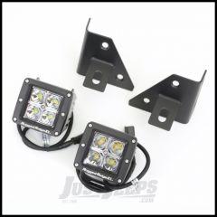 Rugged Ridge Windshield Light Bracket Kit In Black With Square LED Lights For 1976-95 Jeep CJ Series & Wrangler YJ 11027.12
