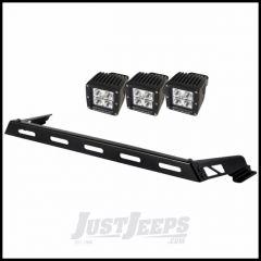 Rugged Ridge Hood Mount Light Bar Kit With 3 Cube LED Lights For 2007-15 Jeep Wrangler & Wrangler Unlimited JK 11232.04