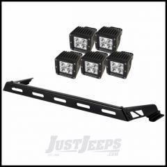 Rugged Ridge Hood Mount Light Bar Kit With 5 Cube LED Lights For 2007-15 Jeep Wrangler & Wrangler Unlimited JK 11232.05