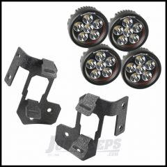 """Rugged Ridge Dual A-Pillar Light Mount Kit With 3.5"""" Round LED Lights In Textured Black For 2007-15 Jeep Wrangler & Wrangler Unlimited JK 11232.34"""