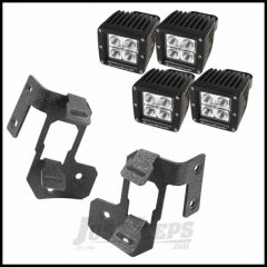 "Rugged Ridge Dual A-Pillar Light Mount Kit With 3"" Square LED Lights In Textured Black For 2007-15 Jeep Wrangler & Wrangler Unlimited JK 11232.35"