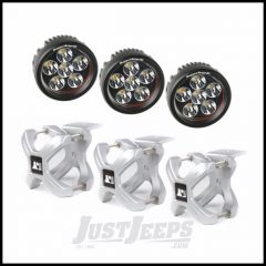"""Rugged Ridge X-Clamp Reg Size 2.25""""-3"""" In Silver & Round LED Kit 3-Piece 15210.15"""