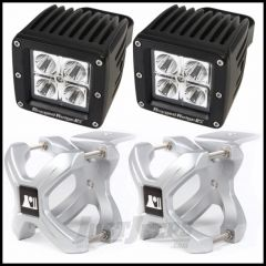 """Rugged Ridge X-Clamp Small Size 1.25""""-2"""" In Silver & Square LED Kit 2-Piece 15210.32"""