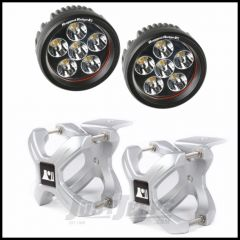 "Rugged Ridge X-Clamp Small Size 1.25""-2"" In Silver & Round LED Kit 2-Piece 15210.35"