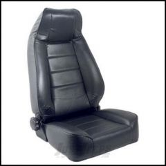 SmittyBilt Front Factory Style Reclining Seat In Black Denim For 1976+ Jeep CJ Series, Wrangler YJ & TJ Models 45015