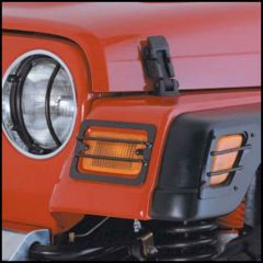 SmittyBilt Euro Turn Signal Covers & Side Marker Guards In Black For 1997-06 Jeep Wrangler TJ & TLJ Unlimited Models 5670