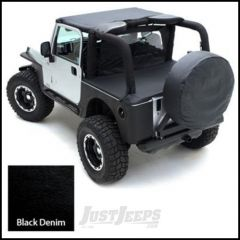SmittyBilt Tonneau Cover With Factory Soft Top Bow Folded Down In Black Denim For 1992-95 Jeep Wrangler YJ 721015