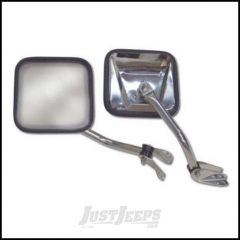 SmittyBilt CJ Style Side Mirrors In Stainless Steel For 1955-86 Jeep CJ Series 7417