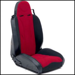 SmittyBilt XRC Racing Style Recliner Seat Driver Side In Red On Black For 1976+ Jeep CJ Series, Wrangler YJ, TJ, & JK Models 750230