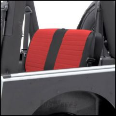 SmittyBilt XRC Rear Seat Cover In Red On Black For 1980-95 Jeep Wrangler YJ & CJ Series 755130