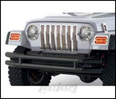 SmittyBilt Double Tube Front Bumper Without Hoop In Textured Black For 1976-06 Jeep Wrangler YJ, TJ, CJ Series JB44-FNT