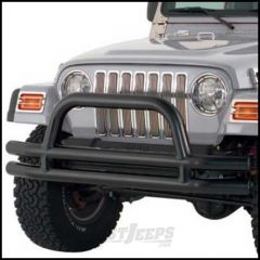 SmittyBilt Double Tube Front Bumper With Hoop In Textured Black For 1976-06 Jeep Wrangler YJ, TJ, CJ Series JB44-FT