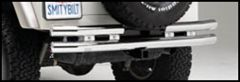SmittyBilt Double Tube Rear Bumper With Hitch In Stainless Steel For 1987-06 Jeep Wrangler YJ, TJ Series JB44-RHS