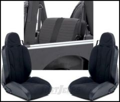 SmittyBilt XRC Seat Package Kit With 2 Front Seats & 1 Rear Seat Cover In Black On Black For 2003-06 Jeep Wrangler TJ & TLJ Unlimited Models XRCSEAT5B