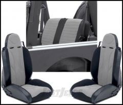 SmittyBilt XRC Seat Package Kit With 2 Front Seats & 1 Rear Seat Cover In Grey On Black For 1997-02 Jeep Wrangler TJ & Wrangler Unlimited XRCSEAT6G