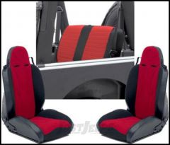 SmittyBilt XRC Seat Package Kit With 2 Front Seats & 1 Rear Seat Cover In Red On Black For 1997-02 Jeep Wrangler TJ & Wrangler Unlimited XRCSEAT6R