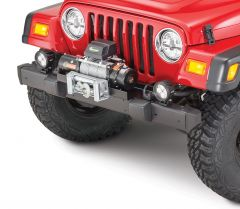 Quadratec Q9000 Self Recovery Winch in Black, Winch Mounting Plate & Xtreme Front Bumper Ends for 97-06 Jeep Wrangler TJ 12106.0010