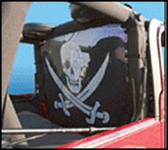 Vertically Driven Products Windstopper With Pirate Flag For 1980-06 Jeep CJ & Wrangler YJ, TJ, TJ Unlimited Models 508005-2