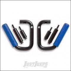 Welcome Distributing Front GraBars Pair In Black Steel with Blue Rubber Grips For 2007-18 Jeep Wrangler JK 2 Door & Unlimited 4 Door Models 1001B