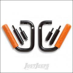 Welcome Distributing Front GraBars Pair In Black Steel with Orange Rubber Grips For 2007-18 Jeep Wrangler JK 2 Door & Unlimited 4 Door Models 1001O