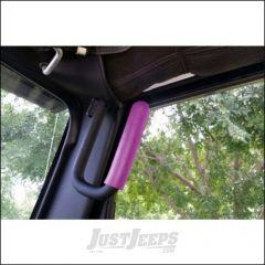 Welcome Distributing Front GraBars Pair In Black Steel with Pink Rubber Grips For 2007-18 Jeep Wrangler JK 2 Door & Unlimited 4 Door Models 1001P