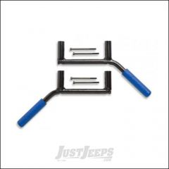 Welcome Distributing Rear GraBars Pair In Black Steel with Blue Rubber Grips For 2007-18 Jeep Wrangler JK 2 Door Models 1002B