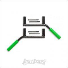Welcome Distributing Rear GraBars Pair In Black Steel with Green Rubber Grips For 2007-18 Jeep Wrangler JK 2 Door Models 1002G