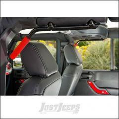 Welcome Distributing Rear GraBars Pair In Black Steel with Red Rubber Grips For 2007-18 Jeep Wrangler JK 2 Door Models 1002R