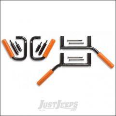 Welcome Distributing Front & Rear GraBars In Black Steel with Orange Rubber Grip For 2007-18 Jeep Wrangler JK 2 Door Models 1003O