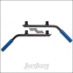 Welcome Distributing Rear GraBars Pair In Black Steel with Blue Rubber Grips For 2007-18 Jeep Wrangler JK Unlimited 4 Door Models 1004B