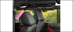 Welcome Distributing Rear GraBars Pair In Black Steel with Pink Rubber Grips For 2007-18 Jeep Wrangler JK Unlimited 4 Door Models 1004P