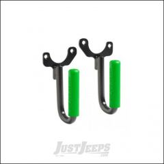 Welcome Distributing Front GraBars Pair In Black Steel with Green Rubber Grips For 1997-06 Jeep Wrangler TJ & TLJ Unlimited Models 1018G