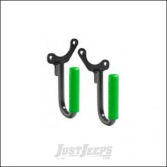 Welcome Distributing Front GraBars Pair In Black Steel with Green Rubber Grips For 1987-95 Jeep Wrangler YJ 1019G