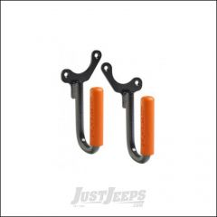 Welcome Distributing Front GraBars Pair In Black Steel with Orange Rubber Grips For 1987-95 Jeep Wrangler YJ 1019O