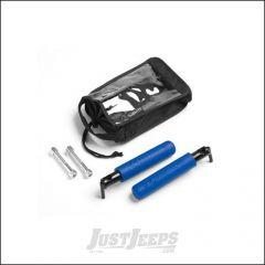 Welcome Distributing GraBar BootBars (Foot Pegs) Pair In Black Steel with Blue Dual Layer Rubber Grips For 2007-18 Jeep Wrangler JK 2 Door & Unlimited 4 Door Models 1021B