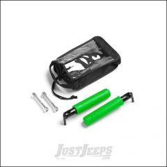 Welcome Distributing GraBar BootBars (Foot Pegs) Pair In Black Steel with Green Dual Layer Rubber Grips For 2007-18 Jeep Wrangler JK 2 Door & Unlimited 4 Door Models 1021G