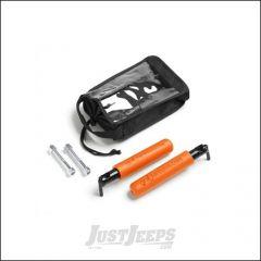 Welcome Distributing GraBar BootBars (Foot Pegs) Pair In Black Steel with Orange Dual Layer Rubber Grips For 2007-18 Jeep Wrangler JK 2 Door & Unlimited 4 Door Models 1021O