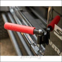 Welcome Distributing GraBar BootBars (Foot Pegs) Pair In Black Steel with Red Dual Layer Rubber Grips For 2007-18 Jeep Wrangler JK 2 Door & Unlimited 4 Door Models 1021R